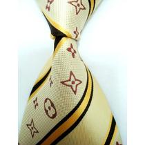 Gravata Seda Louis Vuitton Marfim Dourado Preto Bege Gvt 357