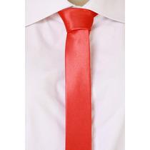 Gravata Slim Lisa Brilhante Cetim - Vermelha