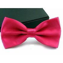 Gravata Borboleta Rosa Pink Com Regulador Adulto E Infantil