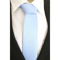 Gravata Semi Slim Trabalhada Quadriculada Sem Nó Azul Bebê