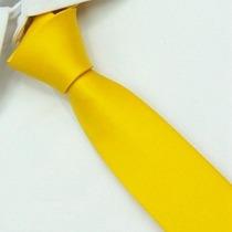 Gravata Seda Amarelo Ouro Padrinhos Slim Gvt 2246 Skinny 5cm