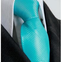 14 Pcs Gravata Azul Tyffany Tradicional Semi Slim Com Nó.