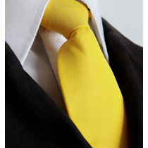 14 Pcs Gravata Amarela Lisa Com Nó