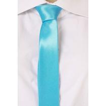 Gravata Slim Lisa Brilhante Cetim - Azul Tiffany