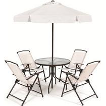Conjunto De Ombrelone Com Mesa Em Vidro E 4 Cadeiras - Miami