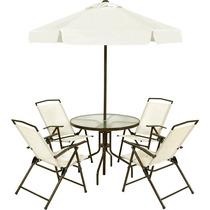 Jogo Jardim 4 Cadeiras Guarda Sol Mesa Miami Bege Bel 85000