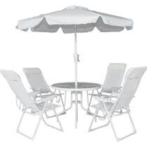 Conjunto Mônaco 4 Cadeiras Alumínio Mesa Ombrelone Bel 83000