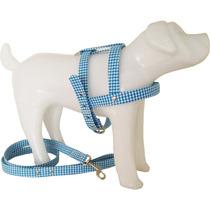 Guia E Peitoral Escocesa Xadrez Azul P Cães Exclusivo N° 0