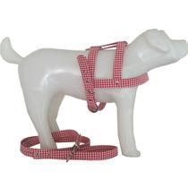 Guia E Peitoral Escocesa Xadrez Rosa P Cães Exclusivo N° 0