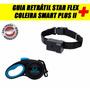 Coleira Smart Plus Ll Preta P+ Guia Retrátil Star Flex Azul