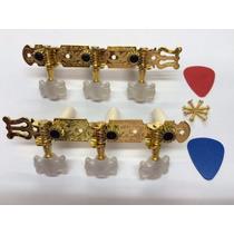 Tarraxa Para Violão Pino Grosso Dourada + 2 Palhetas