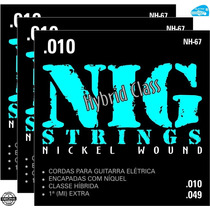 Encordoamento Nig Nh67 Guitarra 010 Híbrida Corda 3 Sets