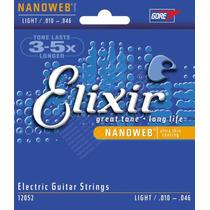 Encordoamento Elixir .010 Cordas Para Guitarra Nanoweb 12052