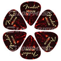 Palheta Fender Celulóide 351 Média Shell Tortoise 6 Unidades