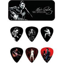 Kit 6 Palhetas Dunlop Elvis Presley Com Porta Palhetas Metal