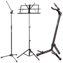 Suporte Violão Guita+ Estante Partitura+2 Pedestal Microfone