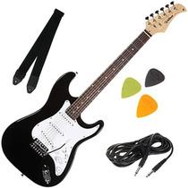 Guitarra Elétrica Preta Strato Alavanca Cabo Correia Palheta