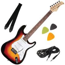 Guitarra Elétrica Strato Com Alavanca Correia Cabo Palhetas