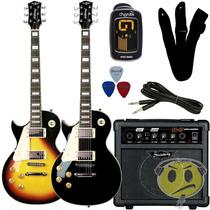 Kit Guitarra Canhota Les Paul Strinberg Cubo + Acessórios