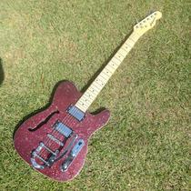Guitarra Gbspro Telecaster Semi-acustica - Vermelho Spark...