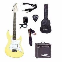 Kit Guitarra Strinberg Strato Egs216 Amarela + Amplificador