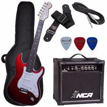 Kit Guitarra Condor Strato Crx10 Vermelho Metálico