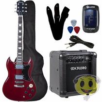 Guitarra Sg Winner Wgsg + Cubo Meteoro + 5 Itens - Kadu Som