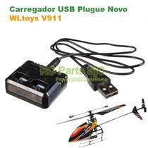 Carregador Baterias Usb Plugue Novo Helicóptero Wltoys V911