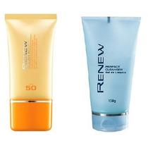 Protetor Solar Facial + Gel De Limpeza Facial Renew Avon