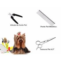 Kit Alicate + Tesoura + Pente Tosa Cães Cachorro Petshop