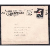 Argentina - Envelope Circulado Porte Selo Cruz Vermelha 1960
