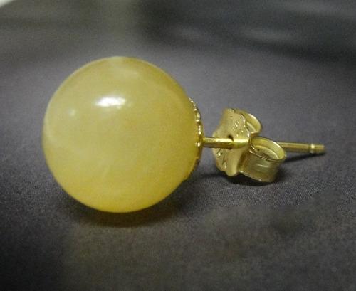 Hs Pedras - Par Brincos Jade Mel 10mm E Ouro 18kts Cód143b68