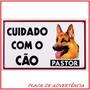 Placa De Advertência - Cuidado Com O Cão - Pastor