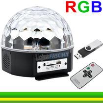 Globo Luzes Projetor Caixa Mp3 Bola Led Rgb Usb + Controle