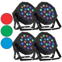 Kit 4 Canhão De Led Par 64 Rgb Leds 3w, Dmx, Strobo, Digital
