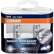 Kit Lâmpada Osram Night Breaker Unlimited H1 20% Luz Branca