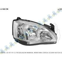 Farol Le/ld H7 H1 C/ Regulagem Manual Montana Corsa Sedan