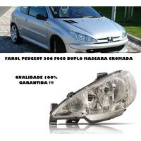 Farol Peugeot 206 Ano 2003 Foco Duplo Mascara Cromada