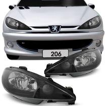 Farol Peugeot 206 2000 2001 A 2006 Mascara Negra Foco Duplo