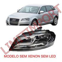 Farol Audi A3 Sportback Le 09 10 2011 2012 Sem Xenon Sem Led