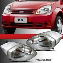 Farol Ford Ka 2007 2008 2010 2011 2012 Máscara Cromada