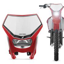 Carenagem Farol Moto Off Road Universal Pro Tork Vermelho