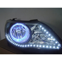 Farol Gol G5 Saveiro Voyage Mascara Negra Led´s Angel Eyes