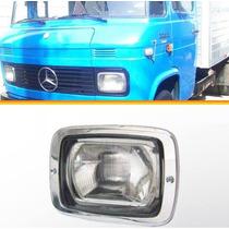Farol 608 708 Caminhão Mercedes C/ Aro Cromado E Lente Vidro