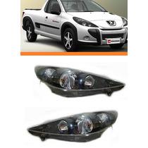 Farol Peugeot Hoggar 207 07 08 09 10 11 12 Negro Par