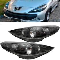 Farol Lado Direito Do Peugeot 207 Mascara Negra Todos Tyc