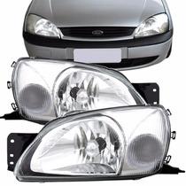 Kit Farol Ford Fiesta 2000 2001 2002 00 01 02 Cristal Branco