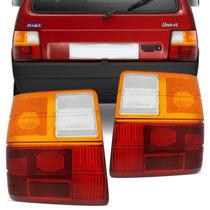Lente Lanterna Traseira Uno 1985 A 2003 Tricolor Ambar