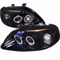 Farol Projector Angel Eyes Honda Civic 1996 1997 1998 Black