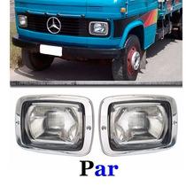 Par Farol Caminhão Mercedes Benz 608d 608 708 Aro Cromado